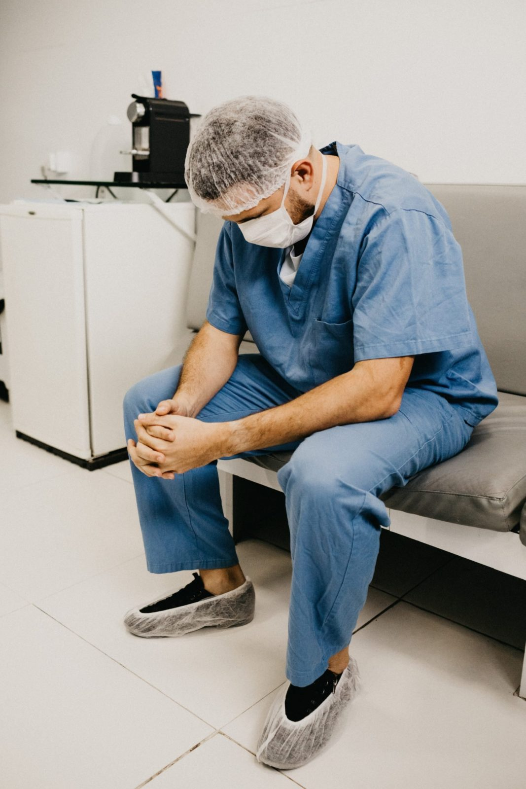 A tired doctor after dealing with coronavirus patients