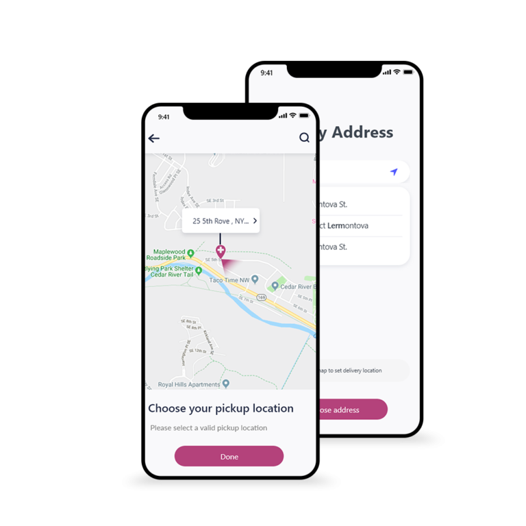 Choose pickup and delivery location